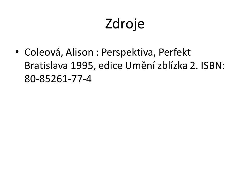 Zdroje Coleová, Alison : Perspektiva, Perfekt Bratislava 1995, edice Umění zblízka 2. ISBN: 80-85261-77-4