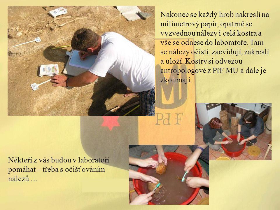 Nakonec se každý hrob nakreslí na milimetrový papír, opatrně se vyzvednou nálezy i celá kostra a vše se odnese do laboratoře. Tam se nálezy očistí, za
