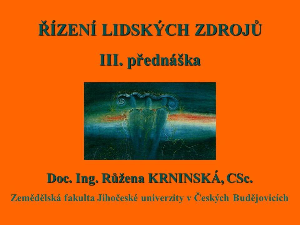ŘÍZENÍ LIDSKÝCH ZDROJŮ III. přednáška Doc. Ing. Růžena KRNINSKÁ, CSc.
