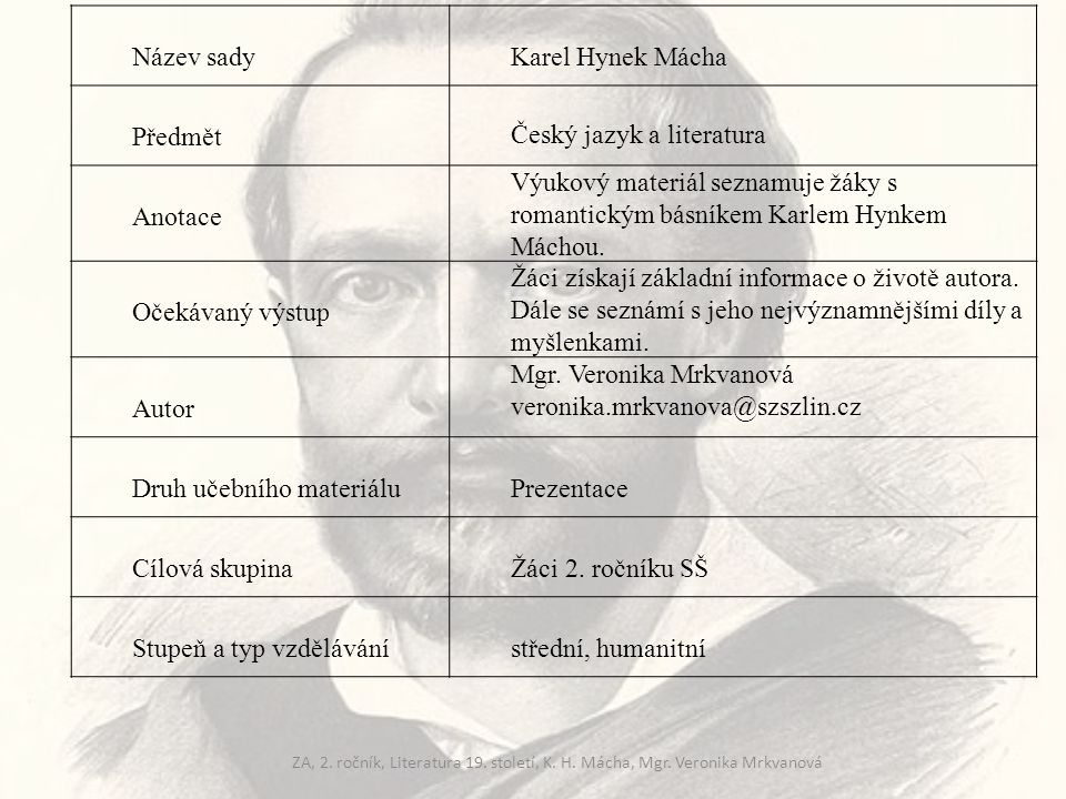 Karel Hynek Mácha (1810 – 1836) tvůrce moderní české poezie narodil se v Praze na Újezdě rodina je zadlužena, stěhují se do chudé čtvrti kolem kostela sv.