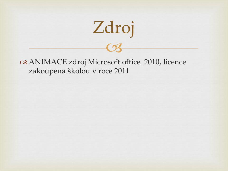   ANIMACE zdroj Microsoft office_2010, licence zakoupena školou v roce 2011 Zdroj