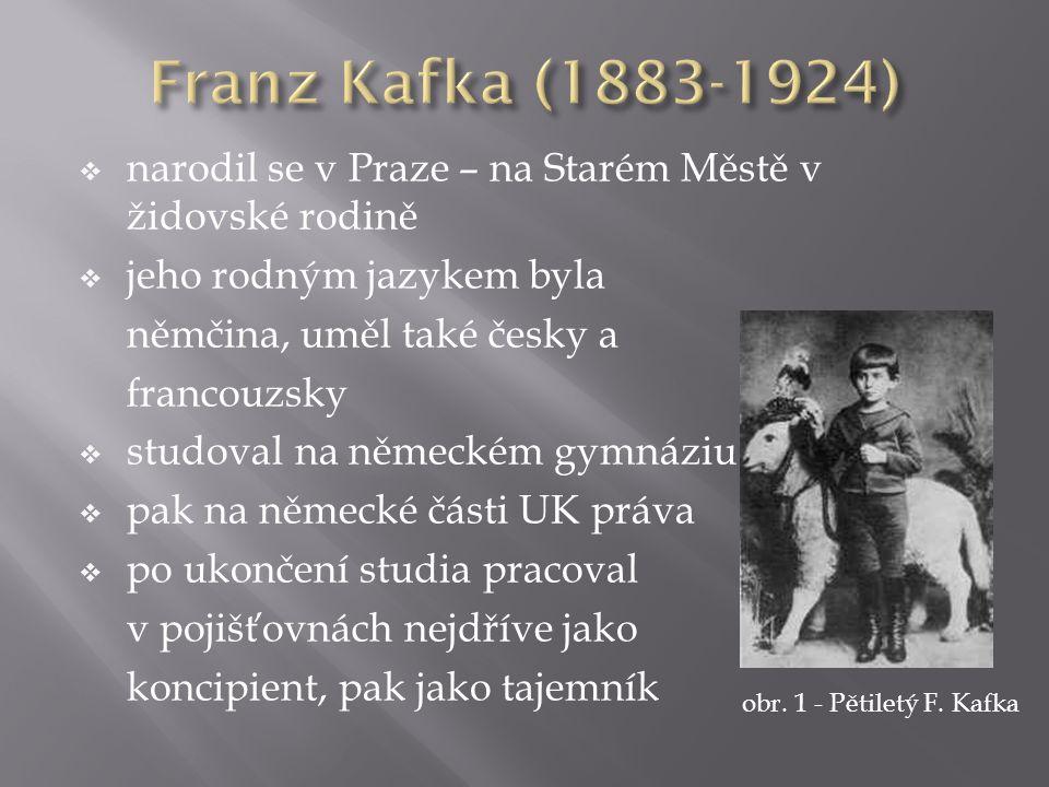  narodil se v Praze – na Starém Městě v židovské rodině  jeho rodným jazykem byla němčina, uměl také česky a francouzsky  studoval na německém gymnáziu  pak na německé části UK práva  po ukončení studia pracoval v pojišťovnách nejdříve jako koncipient, pak jako tajemník obr.