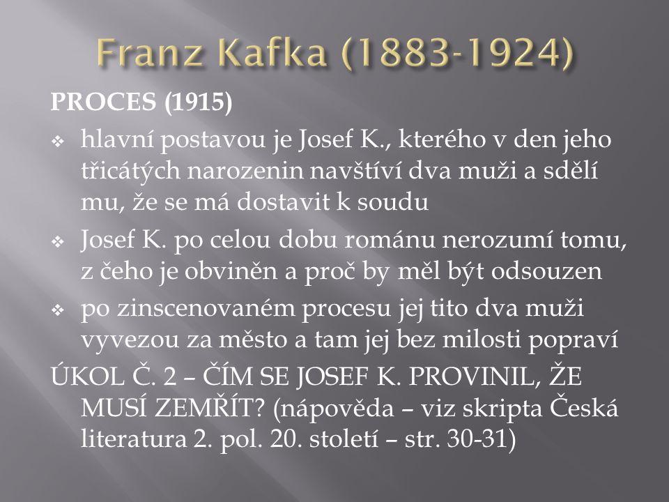 PROCES (1915)  hlavní postavou je Josef K., kterého v den jeho třicátých narozenin navštíví dva muži a sdělí mu, že se má dostavit k soudu  Josef K.