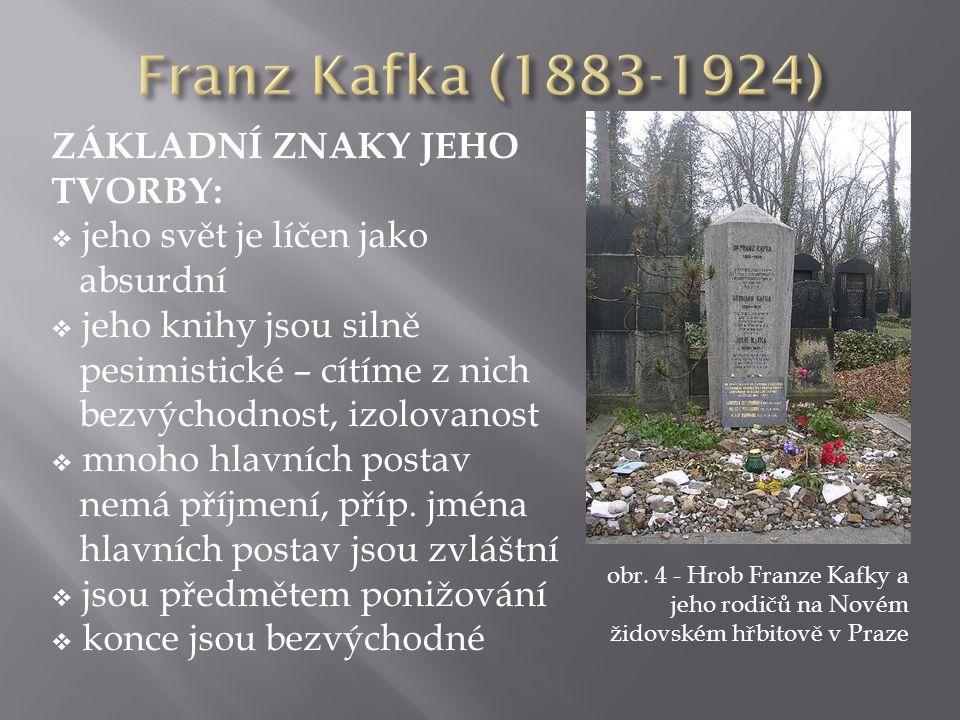 obr. 4 - Hrob Franze Kafky a jeho rodičů na Novém židovském hřbitově v Praze ZÁKLADNÍ ZNAKY JEHO TVORBY:  jeho svět je líčen jako absurdní  jeho kni