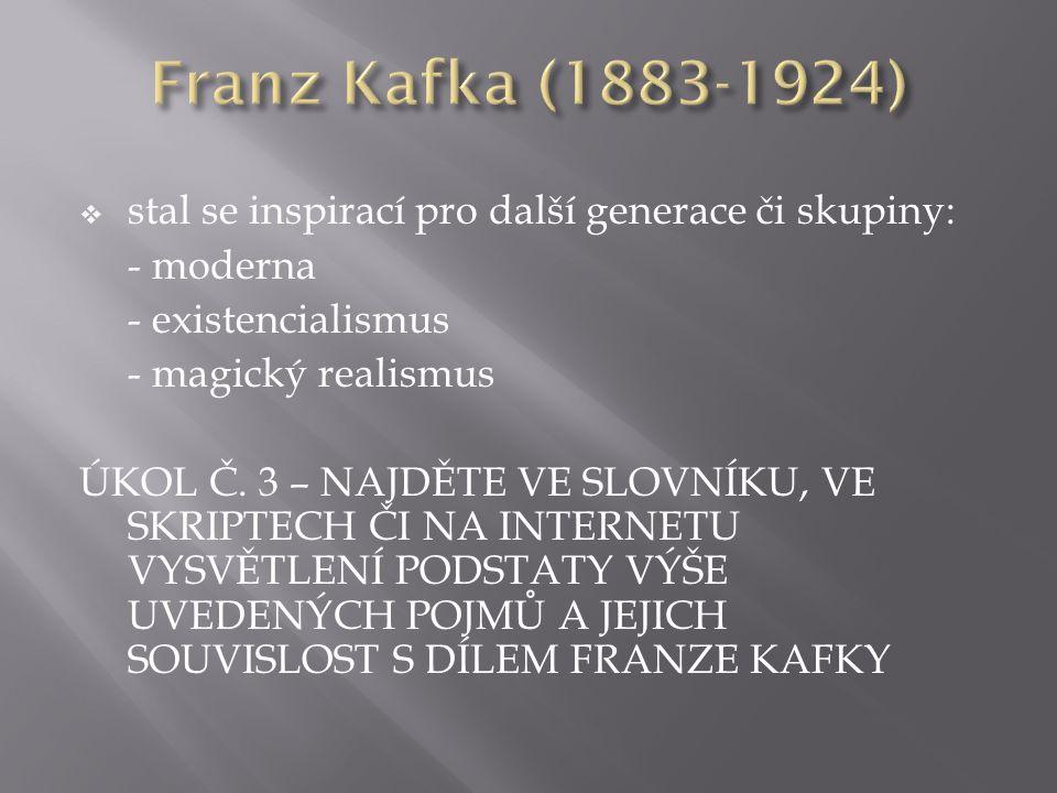  stal se inspirací pro další generace či skupiny: - moderna - existencialismus - magický realismus ÚKOL Č.