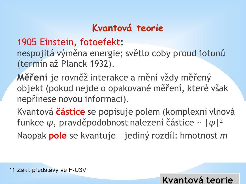 Kvantová teorie 1905 Einstein, fotoefekt: nespojitá výměna energie; světlo coby proud fotonů (termín až Planck 1932). Měření je rovněž interakce a měn