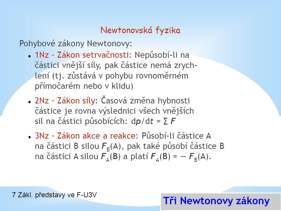 Newtonovská fyzika Pohybové zákony Newtonovy: 1Nz – Zákon setrvačnosti: Nepůsobí-li na částici vnější síly, pak částice nemá zrych- lení (tj. zůstává