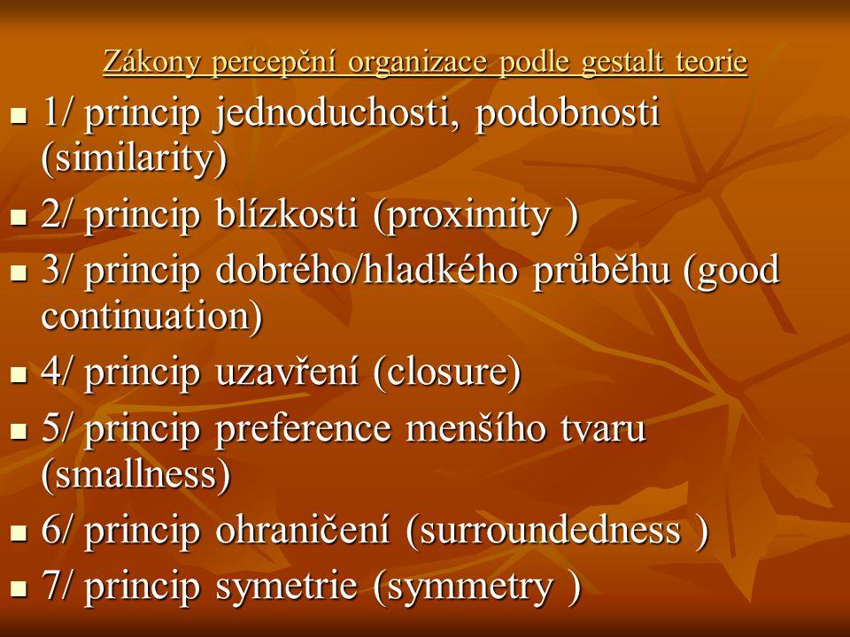 Zákony percepční organizace podle gestalt teorie 1/ princip jednoduchosti, podobnosti (similarity) 1/ princip jednoduchosti, podobnosti (similarity) 2/ princip blízkosti (proximity ) 2/ princip blízkosti (proximity ) 3/ princip dobrého/hladkého průběhu (good continuation) 3/ princip dobrého/hladkého průběhu (good continuation) 4/ princip uzavření (closure) 4/ princip uzavření (closure) 5/ princip preference menšího tvaru (smallness) 5/ princip preference menšího tvaru (smallness) 6/ princip ohraničení (surroundedness ) 6/ princip ohraničení (surroundedness ) 7/ princip symetrie (symmetry ) 7/ princip symetrie (symmetry )