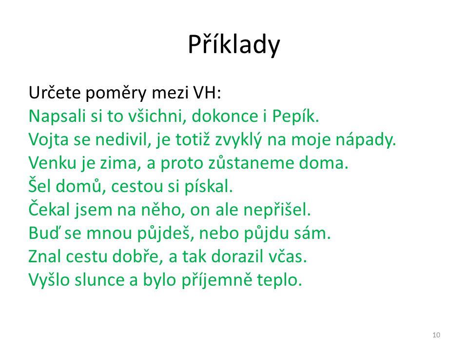 Příklady Určete poměry mezi VH: Napsali si to všichni, dokonce i Pepík.