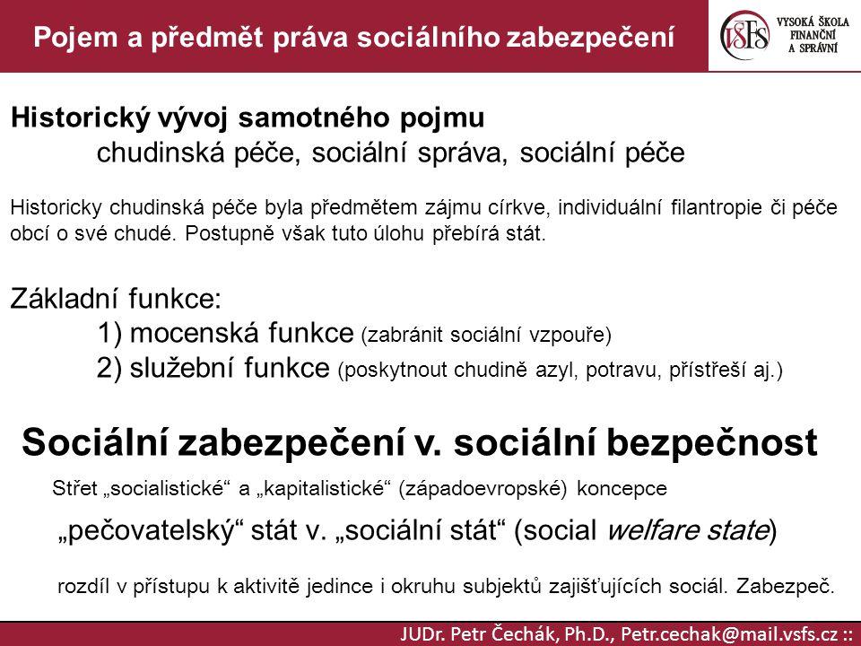 JUDr. Petr Čechák, Ph.D., Petr.cechak@mail.vsfs.cz :: Pojem a předmět práva sociálního zabezpečení Historický vývoj samotného pojmu chudinská péče, so