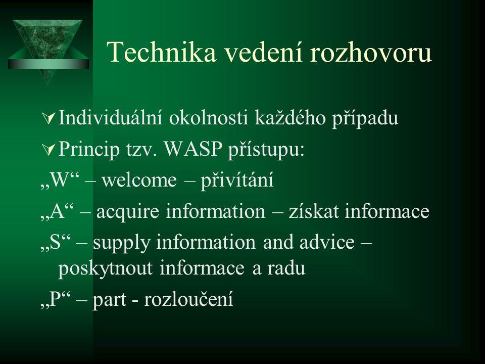 """Technika vedení rozhovoru  Individuální okolnosti každého případu  Princip tzv. WASP přístupu: """"W"""" – welcome – přivítání """"A"""" – acquire information –"""