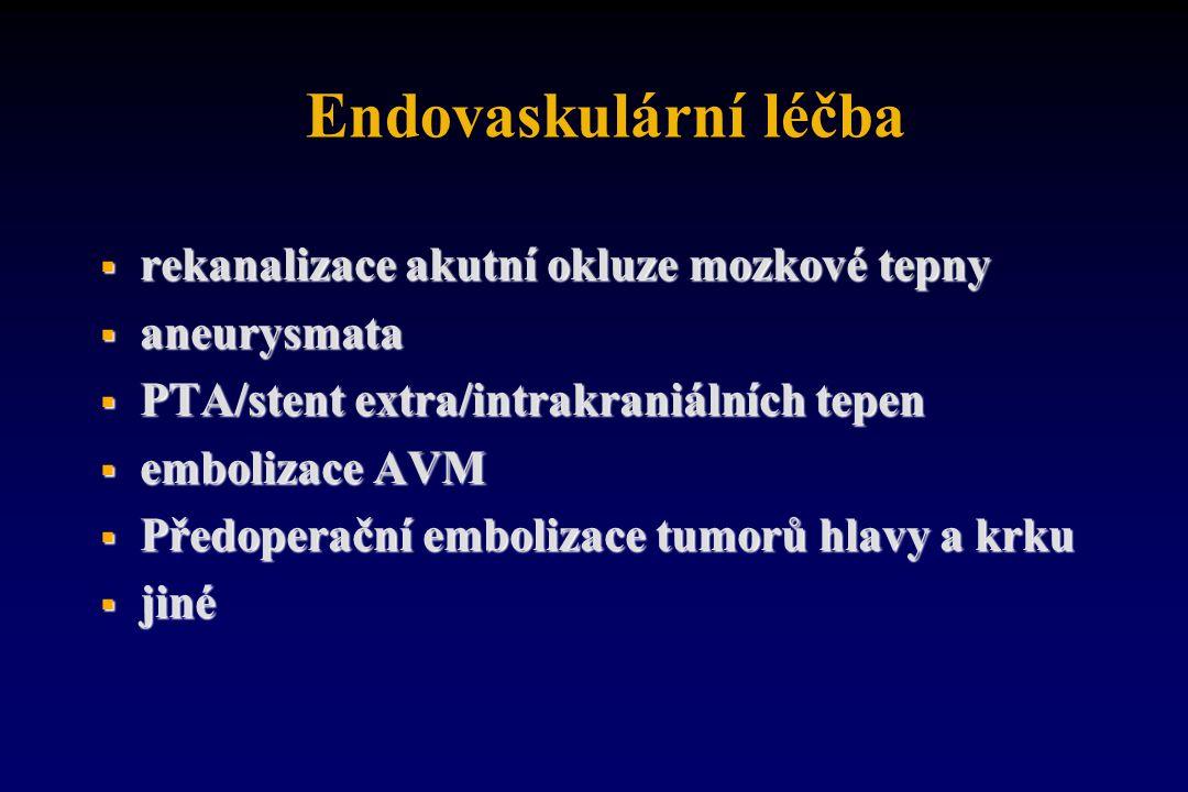 Endovaskulární léčba  rekanalizace akutní okluze mozkové tepny  aneurysmata  PTA/stent extra/intrakraniálních tepen  embolizace AVM  Předoperační