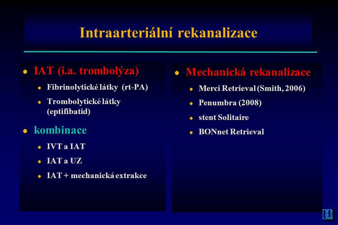 Intraarteriální rekanalizace l IAT (i.a. trombolýza) l Fibrinolytické látky (rt-PA) l Trombolytické látky (eptifibatid) l kombinace l IVT a IAT l IAT