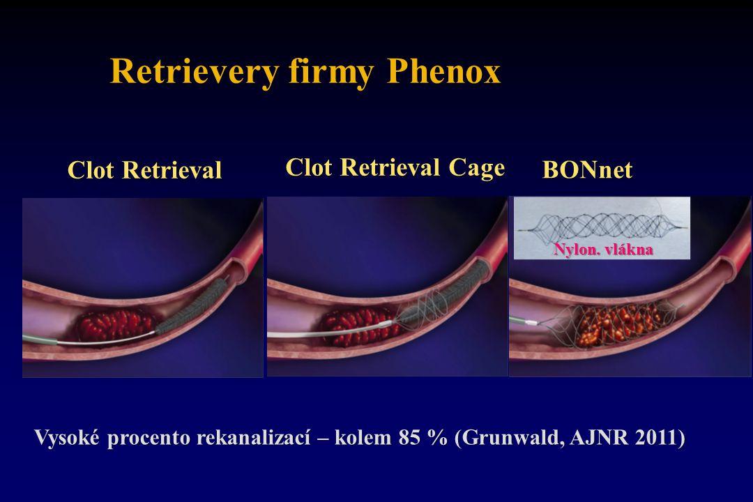 Retrievery firmy Phenox Clot Retrieval Clot Retrieval Cage BONnet Vysoké procento rekanalizací – kolem 85 % (Grunwald, AJNR 2011) Nylon. vlákna