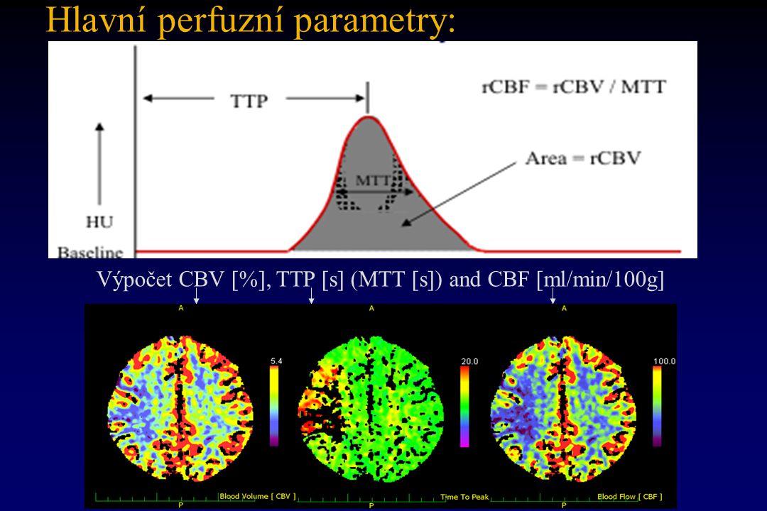 Hlavní perfuzní parametry: Výpočet CBV [%], TTP [s] (MTT [s]) and CBF [ml/min/100g]