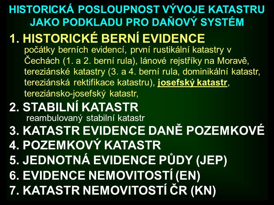 1. HISTORICKÉ BERNÍ EVIDENCE HISTORICKÁ POSLOUPNOST VÝVOJE KATASTRU JAKO PODKLADU PRO DAŇOVÝ SYSTÉM 2. STABILNÍ KATASTR 3. KATASTR EVIDENCE DANĚ POZEM