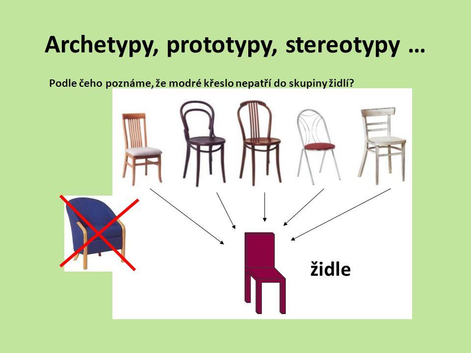 Archetypy, prototypy, stereotypy … Podle čeho poznáme, že modré křeslo nepatří do skupiny židlí? židle