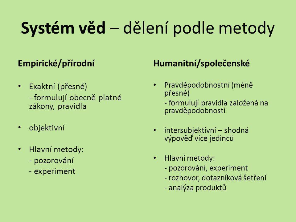 Systém věd – dělení podle metody Empirické/přírodní Exaktní (přesné) - formulují obecně platné zákony, pravidla objektivní Hlavní metody: - pozorování - experiment Humanitní/společenské Pravděpodobnostní (méně přesné) - formulují pravidla založená na pravděpodobnosti intersubjektivní – shodná výpověď více jedinců Hlavní metody: - pozorování, experiment - rozhovor, dotazníková šetření - analýza produktů