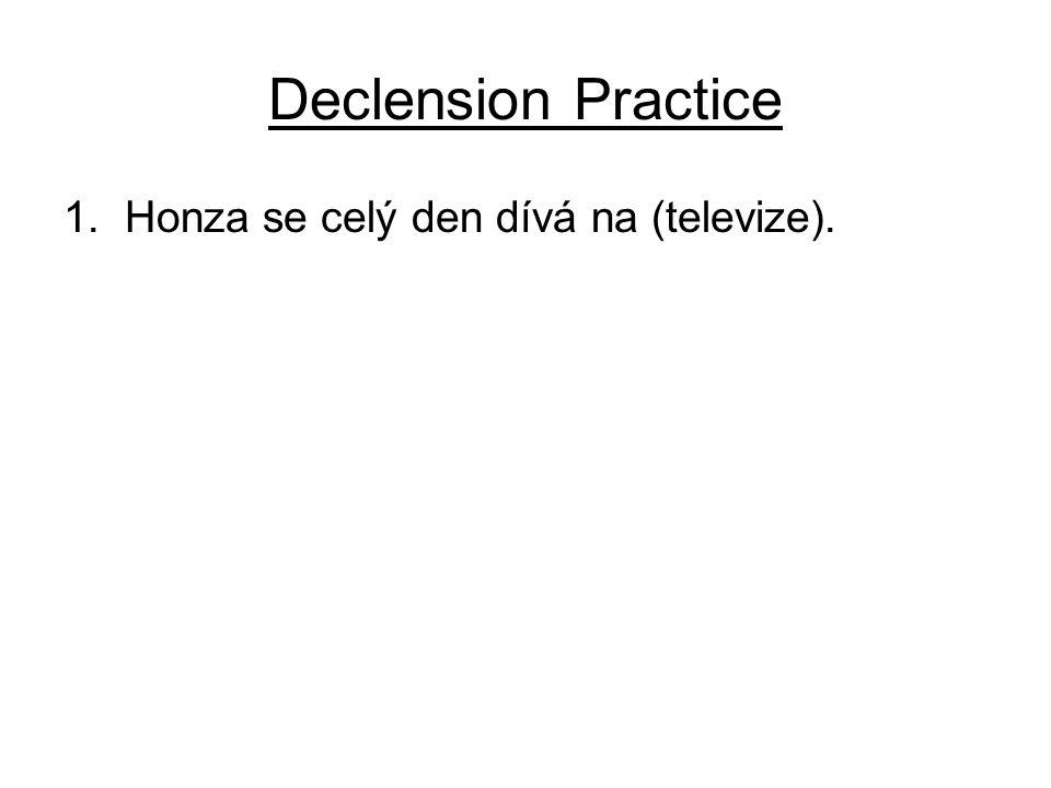 Declension Practice 1. Honza se celý den dívá na (televize).