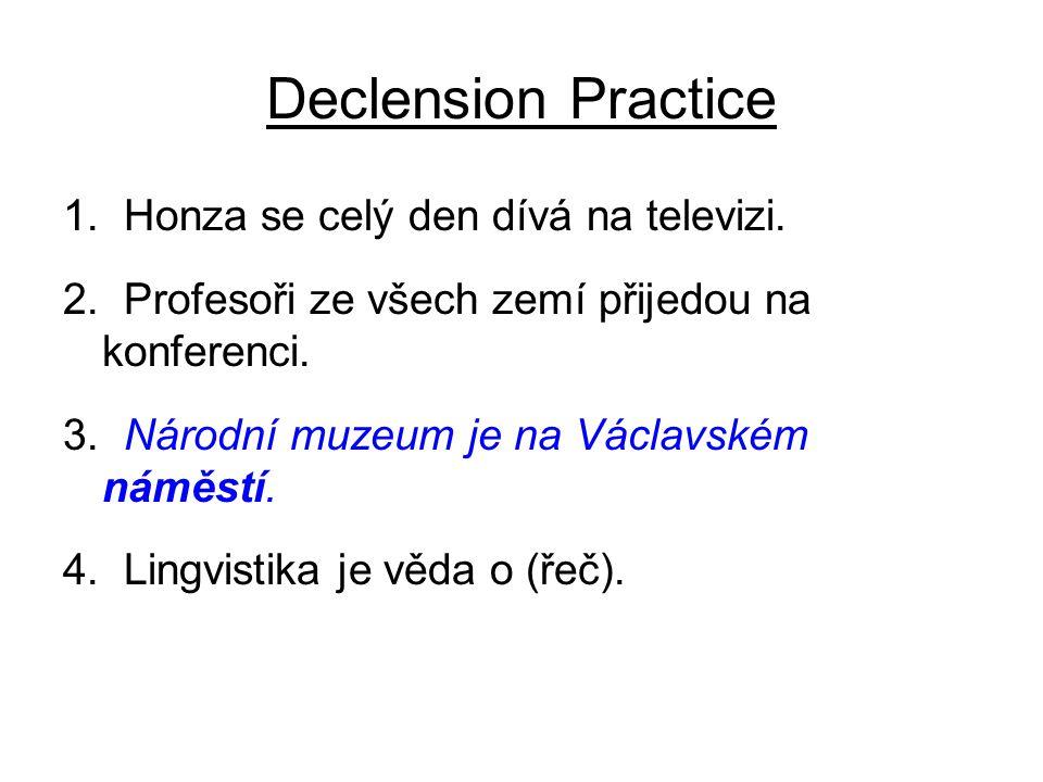 Declension Practice 4. Lingvistika je věda o řeči. 5. Po válce president dal všem (hrdina) medaile.