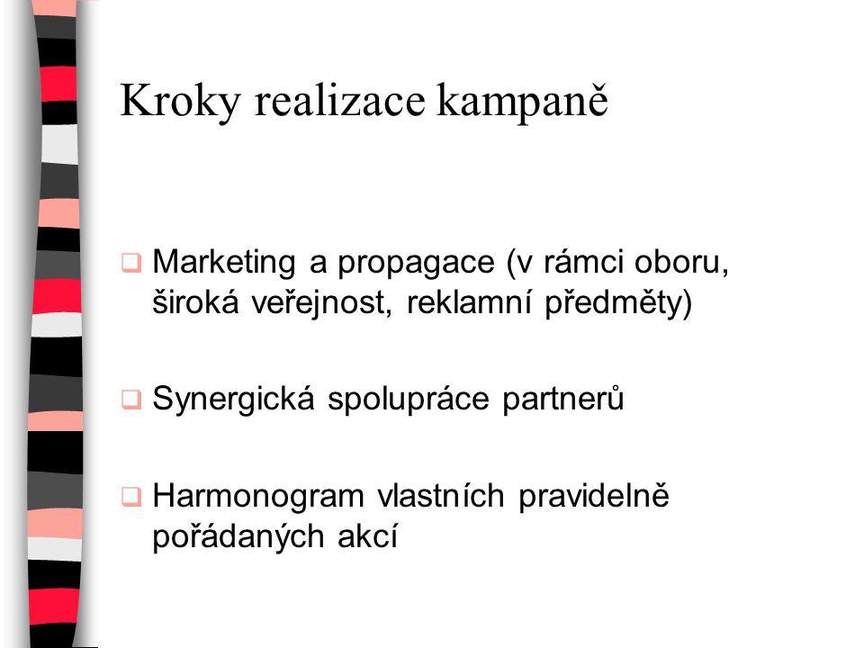 Kroky realizace kampaně  Marketing a propagace (v rámci oboru, široká veřejnost, reklamní předměty)  Synergická spolupráce partnerů  Harmonogram vl