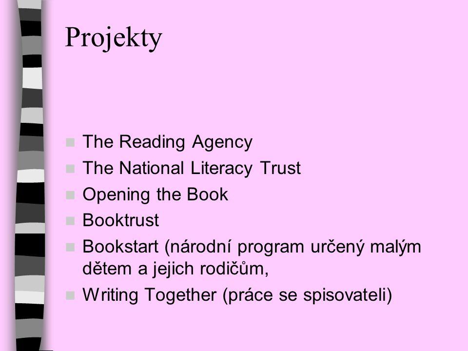 Projekty The Reading Agency The National Literacy Trust Opening the Book Booktrust Bookstart (národní program určený malým dětem a jejich rodičům, Wri