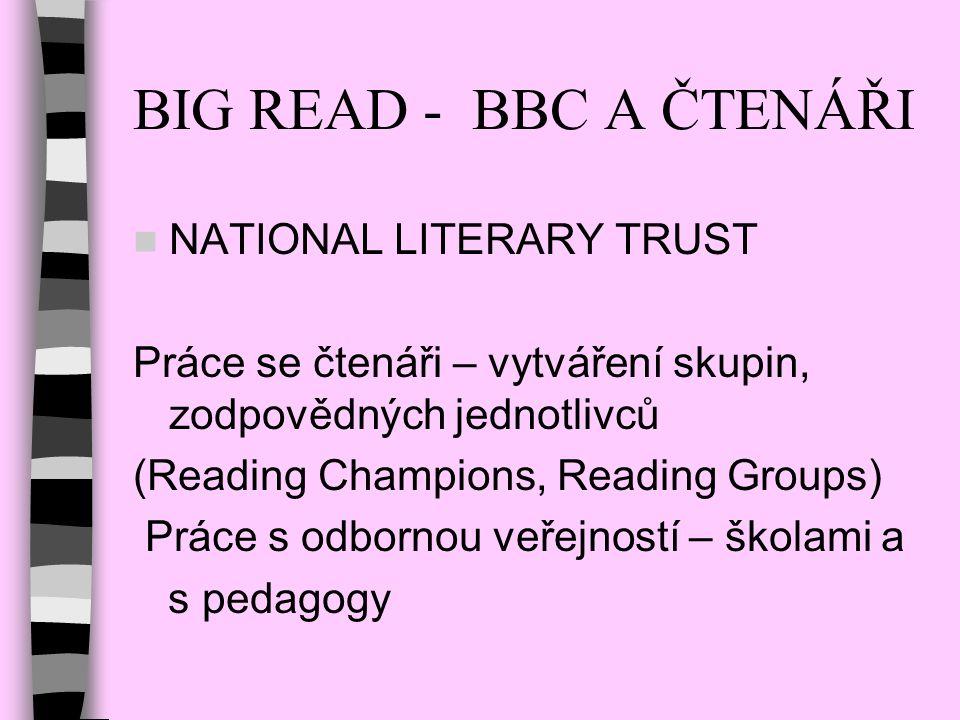 BIG READ - BBC A ČTENÁŘI NATIONAL LITERARY TRUST Práce se čtenáři – vytváření skupin, zodpovědných jednotlivců (Reading Champions, Reading Groups) Prá
