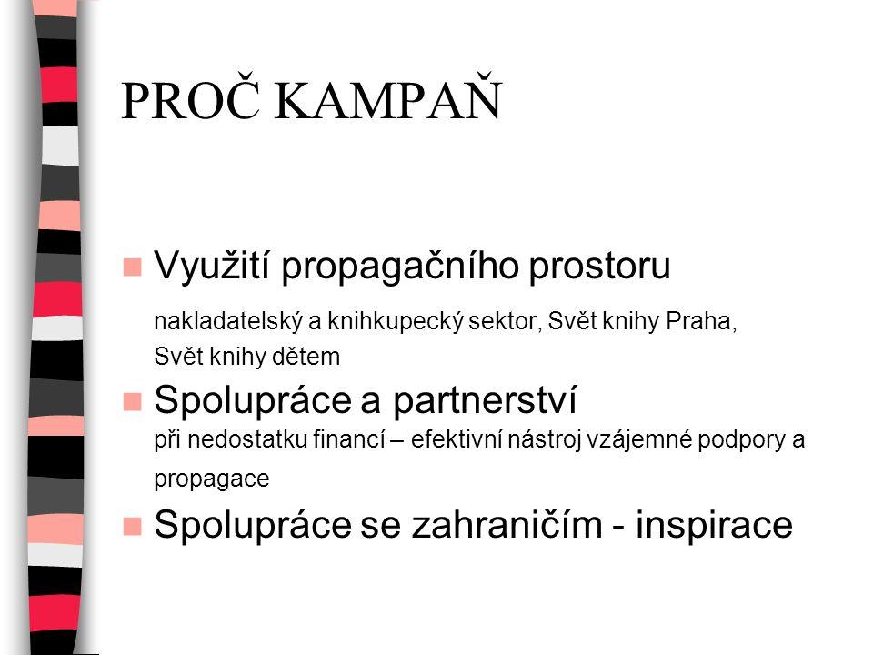 PROČ KAMPAŇ Využití propagačního prostoru nakladatelský a knihkupecký sektor, Svět knihy Praha, Svět knihy dětem Spolupráce a partnerství při nedostat
