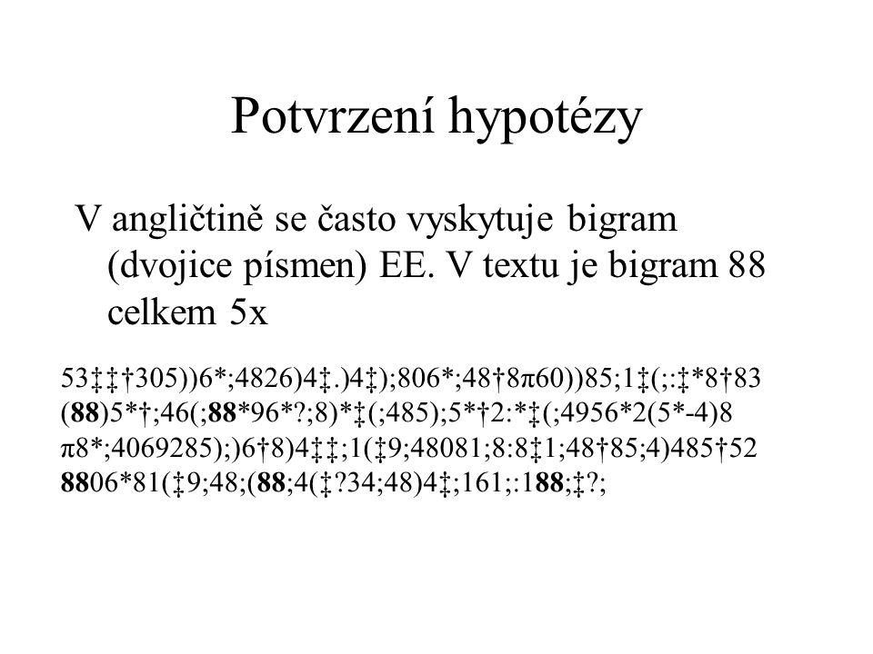 Potvrzení hypotézy V angličtině se často vyskytuje bigram (dvojice písmen) EE. V textu je bigram 88 celkem 5x 53‡‡†305))6*;4826)4‡.)4‡);806*;48†8π60))