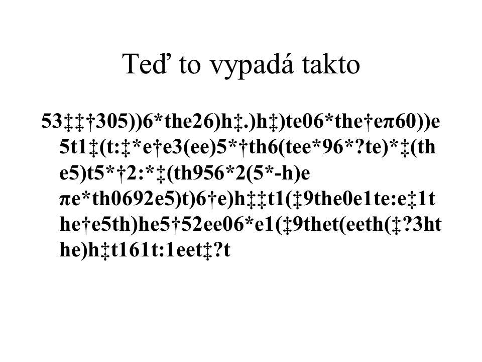 Teď to vypadá takto 53‡‡†305))6*the26)h‡.)h‡)te06*the†eπ60))e 5t1‡(t:‡*e†e3(ee)5*†th6(tee*96*?te)*‡(th e5)t5*†2:*‡(th956*2(5*-h)e πe*th0692e5)t)6†e)h‡