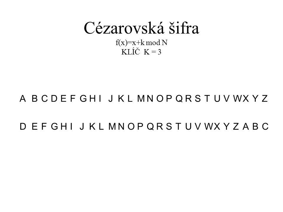 Cézarovská šifra f(x)=x+k mod N KLÍČ K = 3 ABCDEFGHIJKLMNOPQRSTUVWXYZ DEFGHIJKLMNOPQRSTUVWXYZABC