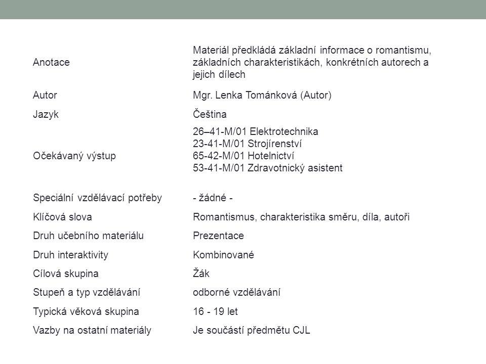 Anotace Materiál předkládá základní informace o romantismu, základních charakteristikách, konkrétních autorech a jejich dílech AutorMgr. Lenka Tománko