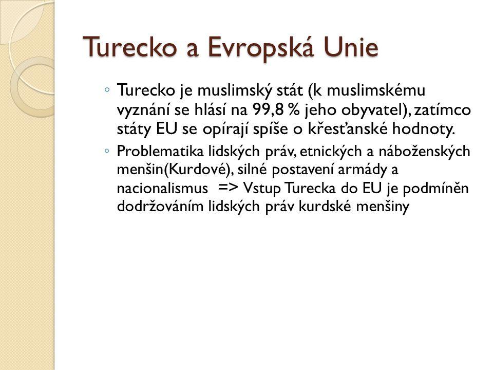 Turecko a Evropská Unie ◦ Turecko je muslimský stát (k muslimskému vyznání se hlásí na 99,8 % jeho obyvatel), zatímco státy EU se opírají spíše o křes