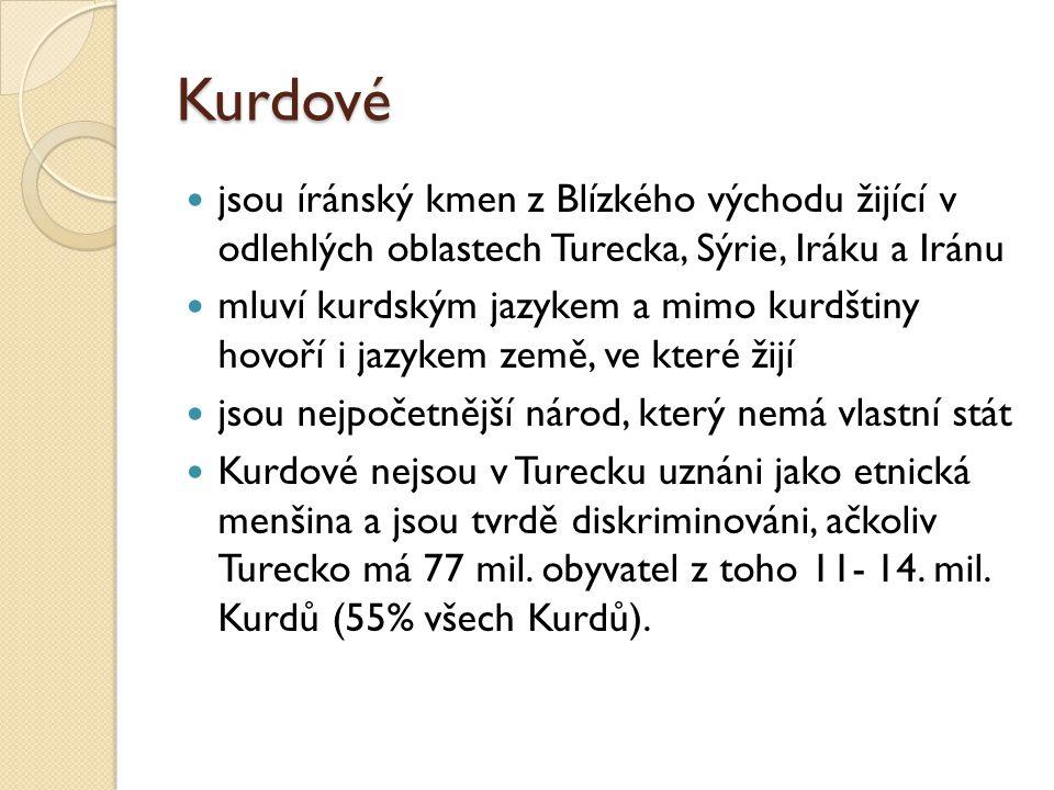 Kurdové jsou íránský kmen z Blízkého východu žijící v odlehlých oblastech Turecka, Sýrie, Iráku a Iránu mluví kurdským jazykem a mimo kurdštiny hovoří