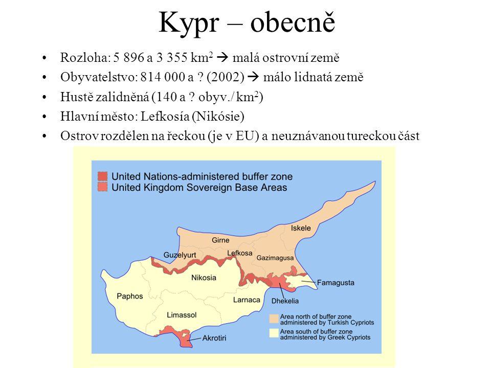 Kypr – obecně Rozloha: 5 896 a 3 355 km 2  malá ostrovní země Obyvatelstvo: 814 000 a ? (2002)  málo lidnatá země Hustě zalidněná (140 a ? obyv./ km