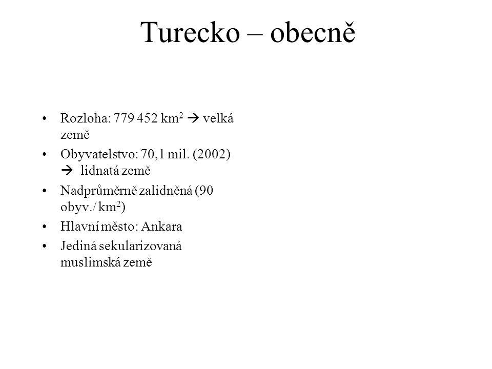 Turecko – obecně Rozloha: 779 452 km 2  velká země Obyvatelstvo: 70,1 mil. (2002)  lidnatá země Nadprůměrně zalidněná (90 obyv./ km 2 ) Hlavní město