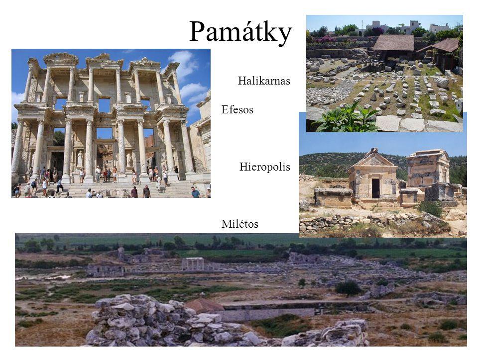 Památky Halikarnas Efesos Hieropolis Milétos