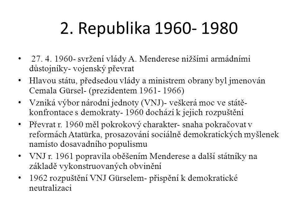 2. Republika 1960- 1980 27. 4. 1960- svržení vlády A. Menderese nižšími armádními důstojníky- vojenský převrat Hlavou státu, předsedou vlády a ministr