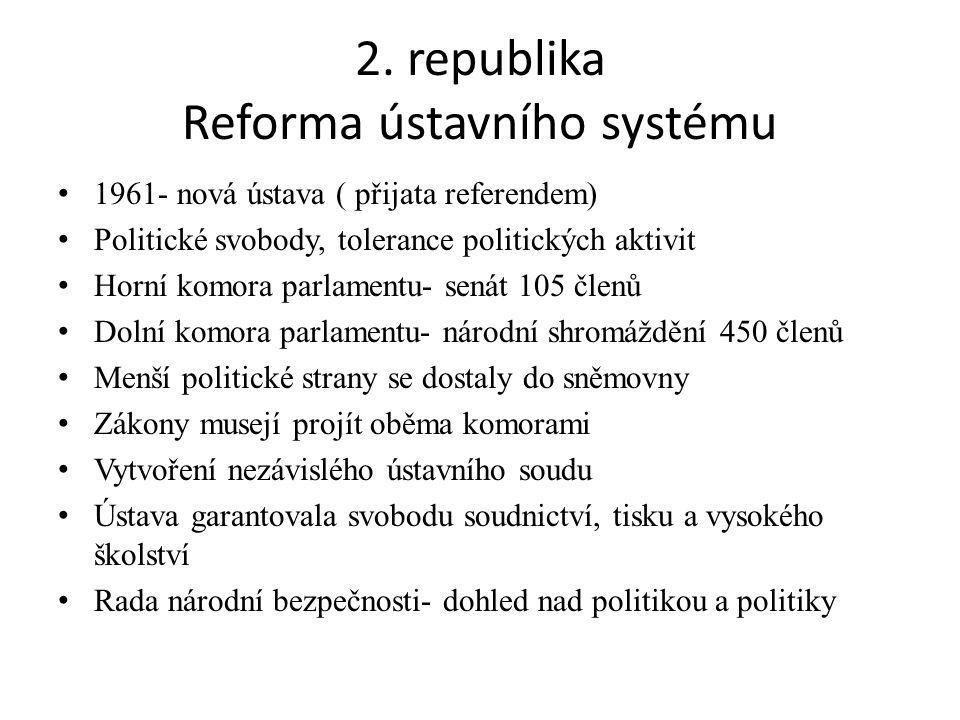2. republika Reforma ústavního systému 1961- nová ústava ( přijata referendem) Politické svobody, tolerance politických aktivit Horní komora parlament