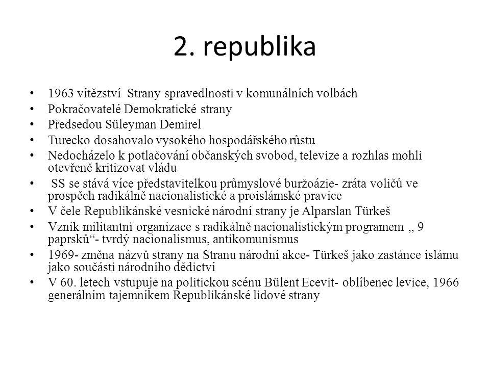 2. republika 1963 vítězství Strany spravedlnosti v komunálních volbách Pokračovatelé Demokratické strany Předsedou Süleyman Demirel Turecko dosahovalo