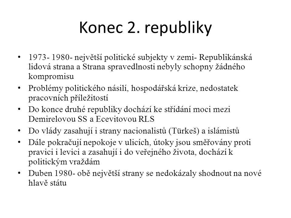 Konec 2. republiky 1973- 1980- největší politické subjekty v zemi- Republikánská lidová strana a Strana spravedlnosti nebyly schopny žádného kompromis