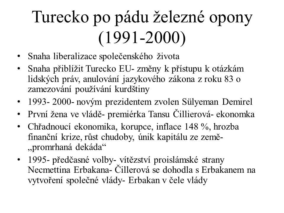 Turecko po pádu železné opony (1991-2000) Snaha liberalizace společenského života Snaha přiblížit Turecko EU- změny k přístupu k otázkám lidských práv