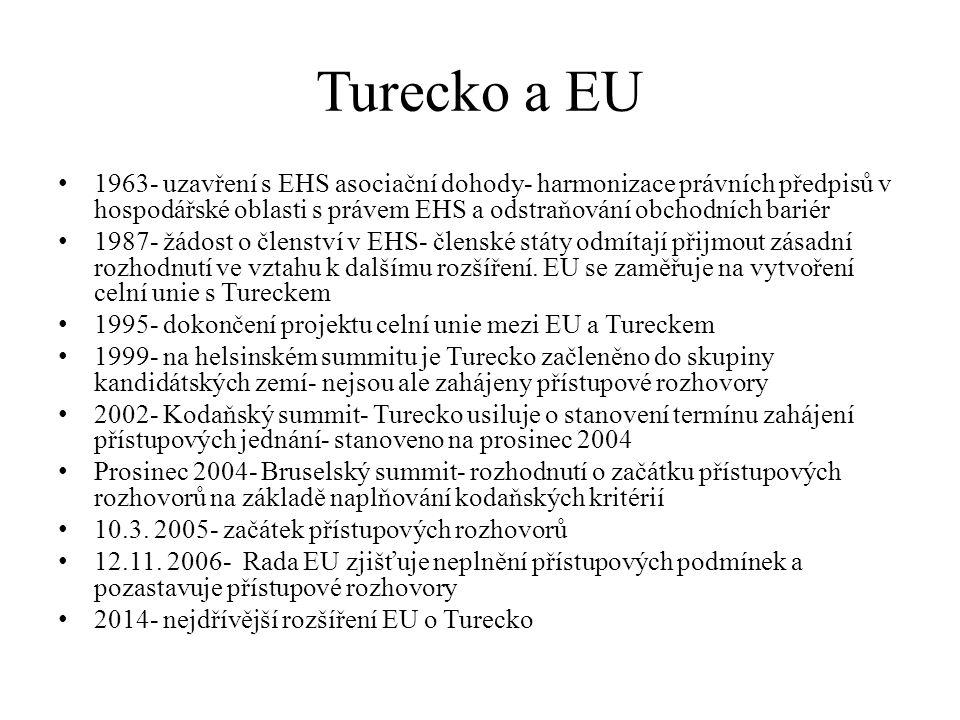 Turecko a EU 1963- uzavření s EHS asociační dohody- harmonizace právních předpisů v hospodářské oblasti s právem EHS a odstraňování obchodních bariér
