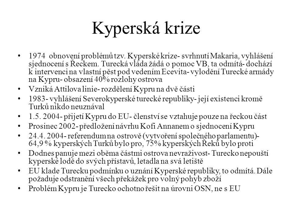 Kyperská krize 1974 obnovení problémů tzv. Kyperské krize- svrhnutí Makaria, vyhlášení sjednocení s Řeckem. Turecká vláda žádá o pomoc VB, ta odmítá-