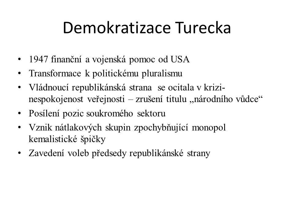 Demokratizace Turecka 1947 finanční a vojenská pomoc od USA Transformace k politickému pluralismu Vládnoucí republikánská strana se ocitala v krizi- n