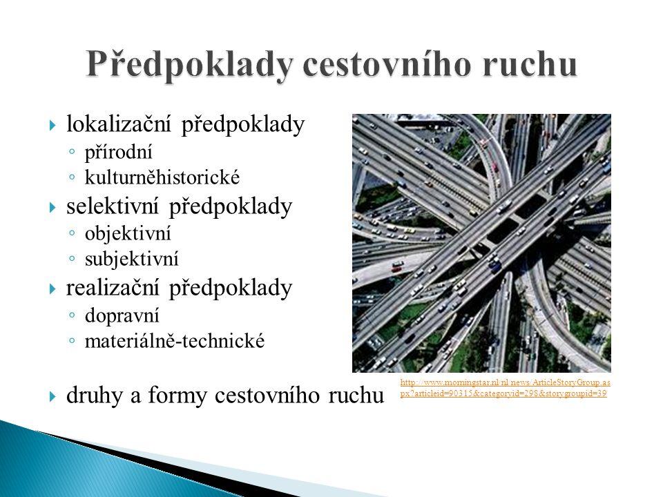  lokalizační předpoklady ◦ přírodní ◦ kulturněhistorické  selektivní předpoklady ◦ objektivní ◦ subjektivní  realizační předpoklady ◦ dopravní ◦ ma