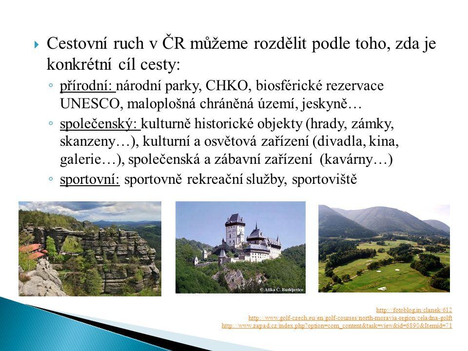  Cestovní ruch v ČR můžeme rozdělit podle toho, zda je konkrétní cíl cesty: ◦ přírodní: národní parky, CHKO, biosférické rezervace UNESCO, maloplošná