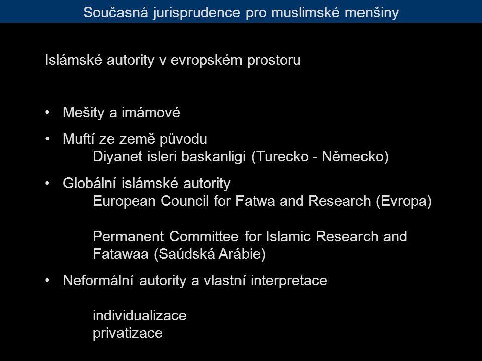 Současná jurisprudence pro muslimské menšiny Islámské autority v evropském prostoru Mešity a imámové Muftí ze země původu Diyanet isleri baskanligi (Turecko - Německo) Globální islámské autority European Council for Fatwa and Research (Evropa) Permanent Committee for Islamic Research and Fatawaa (Saúdská Arábie) Neformální autority a vlastní interpretace individualizace privatizace