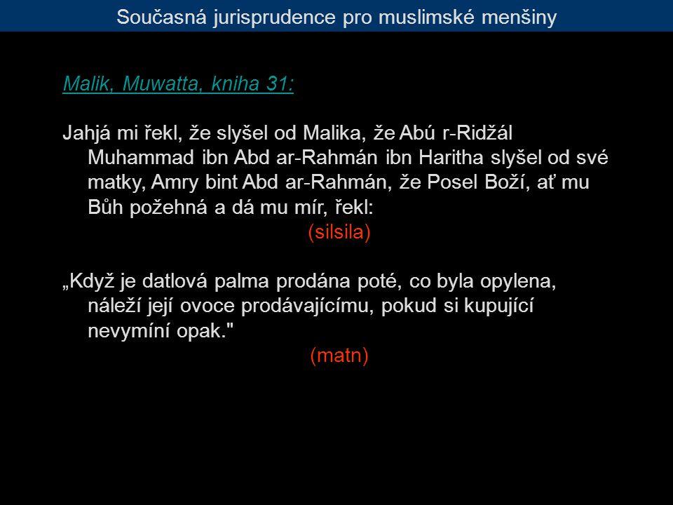 """Současná jurisprudence pro muslimské menšiny Malik, Muwatta, kniha 31: Jahjá mi řekl, že slyšel od Malika, že Abú r-Ridžál Muhammad ibn Abd ar-Rahmán ibn Haritha slyšel od své matky, Amry bint Abd ar-Rahmán, že Posel Boží, ať mu Bůh požehná a dá mu mír, řekl: (silsila) """"Když je datlová palma prodána poté, co byla opylena, náleží její ovoce prodávajícímu, pokud si kupující nevymíní opak. (matn)"""