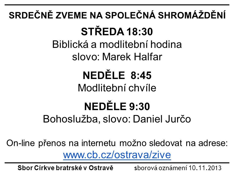 Sbor Církve bratrské v Ostravě sborová oznámení 10.